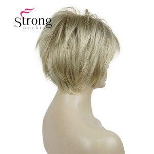 Image 4 - Strongbeauty 짧은 계층화 된 금발 두꺼운 솜털 전체 합성 가발 열 ok