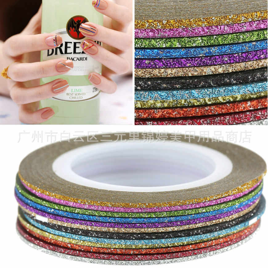 HOT VERKOOP 1mm 12 kleur Glitter Nail Stripin Lijn Tape Sticker Set Art Decoraties DIY Tips Voor Nagellak gel Rhinestones Decorat