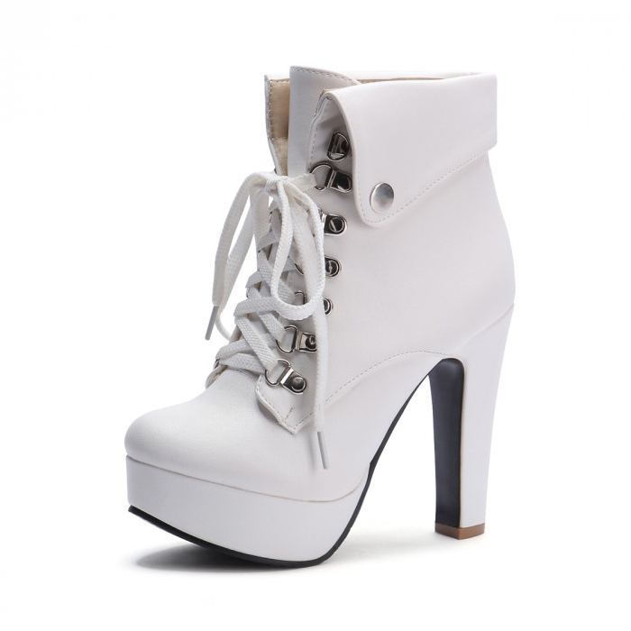 цены Platform High Heel Ankle Boots for Women Lace Up Booties White US4/US7