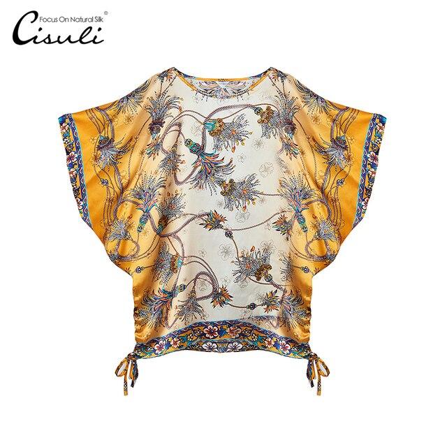 2c0b56f26 CISULI 100% Cetim De Seda Impresso Macio Brilhante Mulheres Blusa Moda  Camisas Nova Chegada do Outono Verão de Manga Curta Camisa Top Feminino