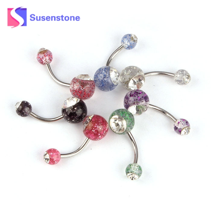 New Trendy 2018 Body Jewelry Butterfly Dangle Ball Button Barbell Bar Belly Navel Barbell Rhinestone Crystal