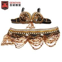 цена Tribal Style Belly Dance Costume 2 Pics Bra&Belt 34B/C 36B/C 38B/C Bra 2017 Oriental Dance Beaded Bra and Belt онлайн в 2017 году