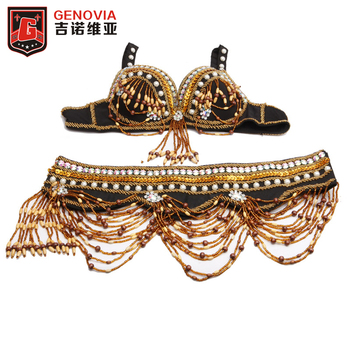 цена 2018 Tribal Style Belly Dance Costume 2 Pics Bra&Belt 34B/C 36B/C 38B/C Bra 2018 Oriental Dance Beaded Bra and Belt онлайн в 2017 году