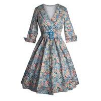 Hot Women Sleeve Vintage Dress Floral Print Elegant Retro 50s Rockabilly Evening Party Sexy Swing Dresses Pin Up Dress