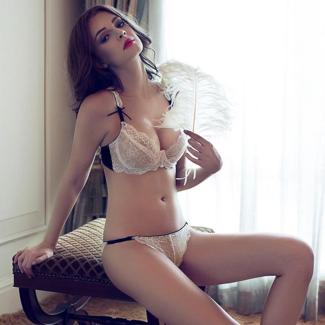 A  B C  D Ultra-thin Floral Transparent Sexy Lace Bra Briefs Set brassiereUnderwire 3/4 Cup Women's Underwear set