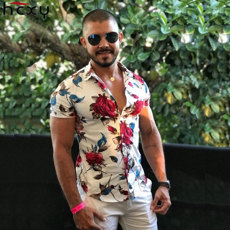 HCXY 2018 moda de verano para hombre Camisa ajustada Fit manga corta Camisa Floral para Hombre Ropa tendencia hombres Casual camisas de flores tamaño M-7XL
