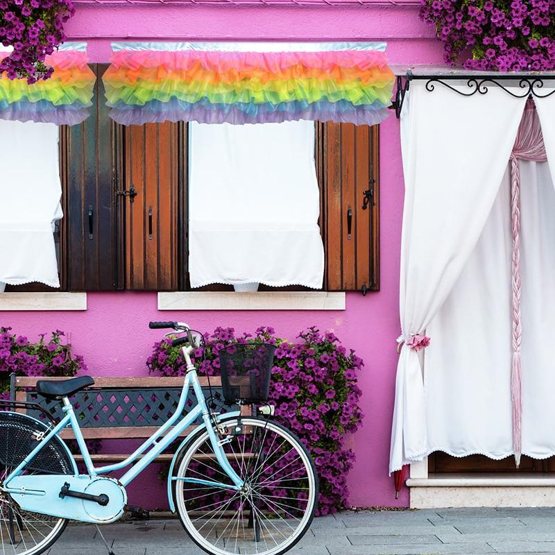 Beautifully Kitchen Door Curtains: Elegant Lace Rainbow Curtains Window Valance Short Curtain