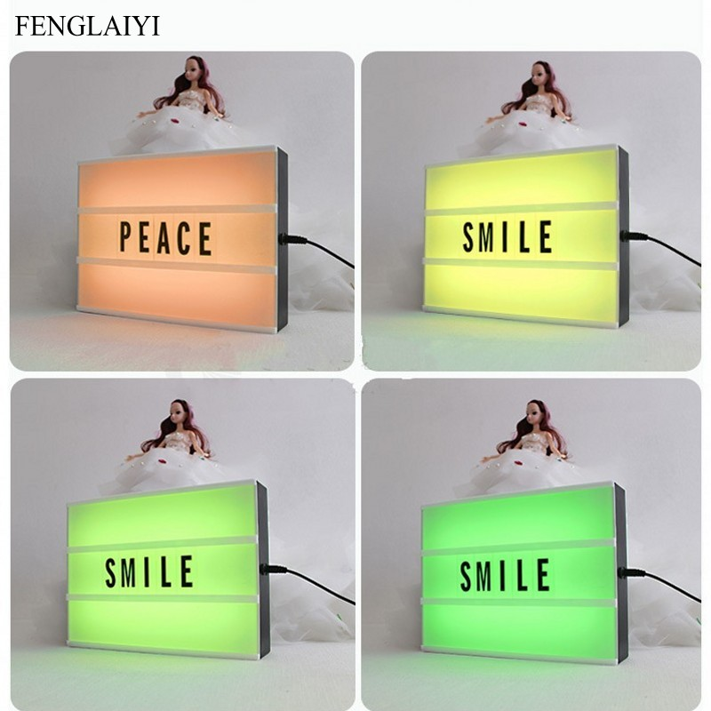 RGB Led A4 Size Cinemaic Lightbox Night Lamp Power AA Battery or USB Cable With 96PCS Sign Letters For Home Decor Lighing