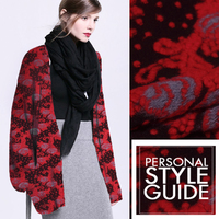 Red Gray Three Dimensional Cashmere Wool Knitted Fabrics High End Fluffy Fabric Autumn And Winter Coat