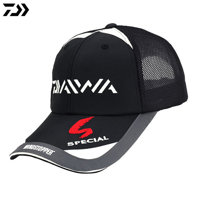 31ff0b17d6022 DAIWA Male Fishing Caps Sunshade Sun protection Black White Breathable Mesh  Cap Adjustable Hat Around Men Fishing Tackle Pesca-in Fishing Caps from  Sports ...