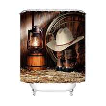 Vintage Western Shower Curtain Art of Cowboy Riding Horse Towards Sunset High Quality Waterproof Curtain For Bathroom with Hooks