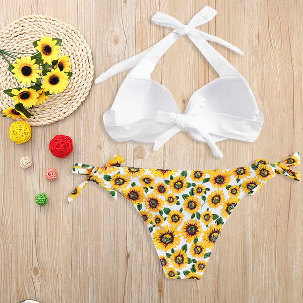 Sexy Bikini kobiet strój kąpielowy 2019 lato wyciąć kostiumy kąpielowe Push Up Bikini druku stroje kąpielowe Bikini z fiszbiną Biquini
