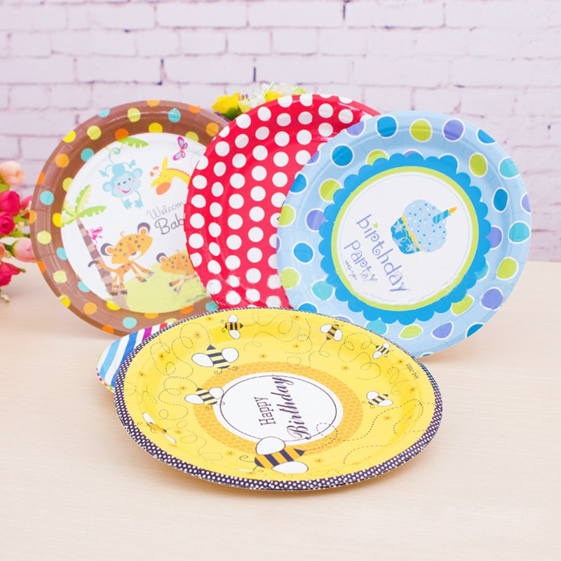 10pcslot paper plates disposable dish 7inch party decoration cake pan party - Decorative Paper Plates