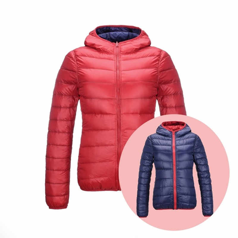2018 Winter Doppel Seite Unten Mit Kapuze Jacken Frauen Ultra Licht Unten Jacke Weibliche Feder Jacken Leichte Warme Mäntel 3XL 4XL
