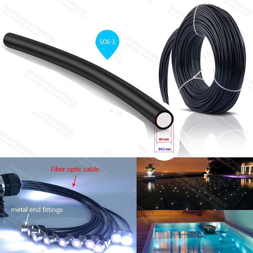100m Rouleau vente 3mm en plastique noir veste fin lueur éclairage décoratif pmma fibre optique câble pour plafonniers étoile ciel