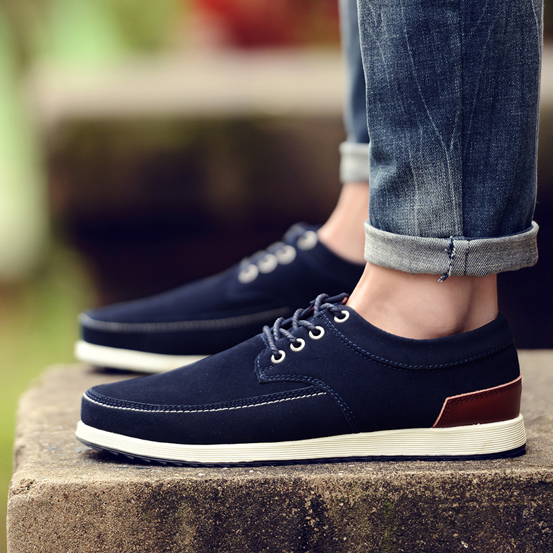 SUROM Brand Men Casual Shoes Leather Suede Winter Warm Fur Sapato Masculino Comfortable Lace Up Flats Male Fashion
