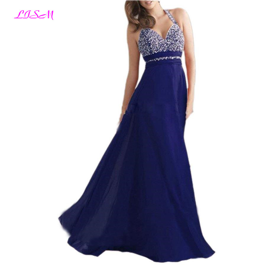 Beadings Halter Sweetheart Chiffon   Prom     Dresses   2019 Long Sleeveless Empire Evening   Dress   Sexy Backless Sweep Train Formal Gowns