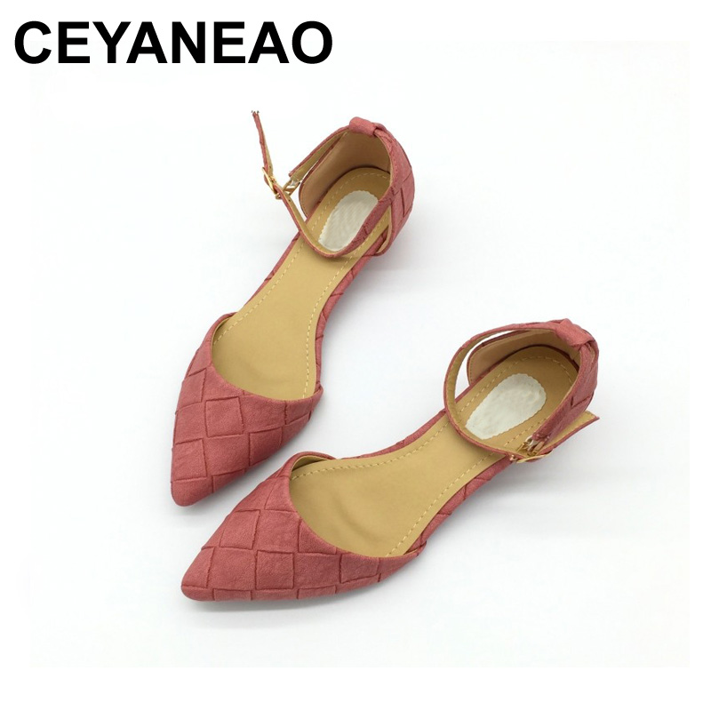 CEYANEAO <font><b>2018</b></font> Vintage PU Women D'Orsay Flats <font><b>Shoes</b></font> <font><b>Sexy</b></font> Pointed Toe Woman Casual Low Heel Basic Flats Casual Loafers Gray image