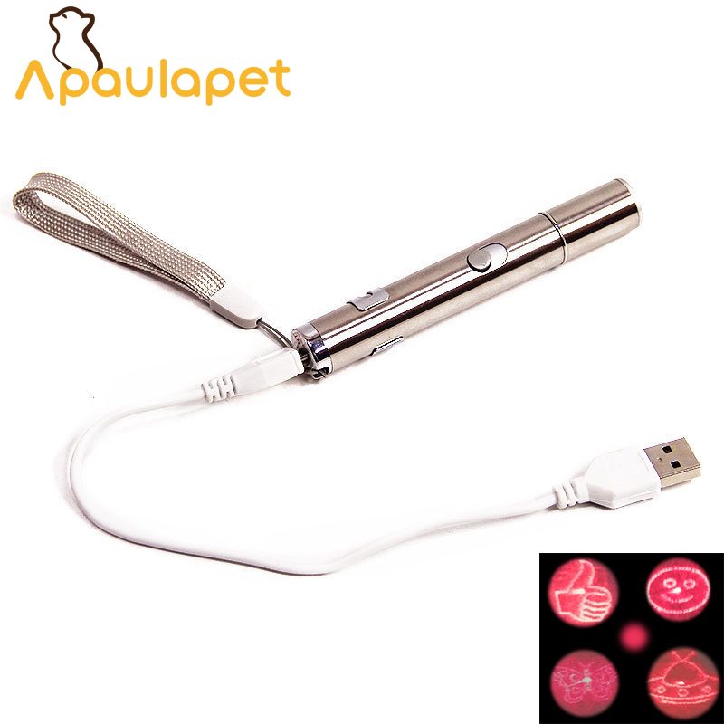 APAULAPET Stainless Steel 11X1.5cm Laser Creative Funny Pet Cat Toys Pen USB Charge With 5 Style