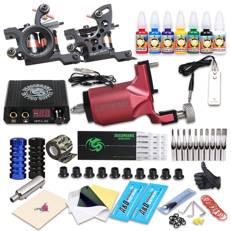 New Style Tattoo Rotary Guns With Coil Machine Kit Liner And Shader Immortal Ink Sets Supply professional tattoo kits liner and shader machines immortal ink needles sets power supply