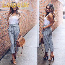 2018 Summer Women Casual Mid Waist Pants White Striped Bow Tie Drawstring Sweet Elastic Waist Pockets Comfortable Trousers grey casual drawstring waist zipper design pants with four pockets