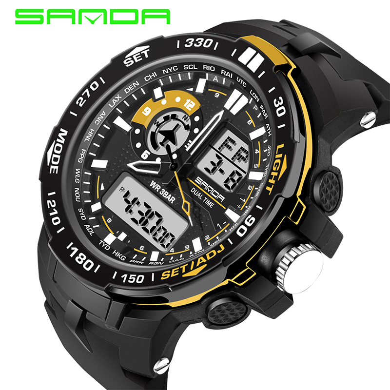 SANDA Mens Watches Shock-Clock Manne Multifunctional Waterproof Male Relogio Masculino