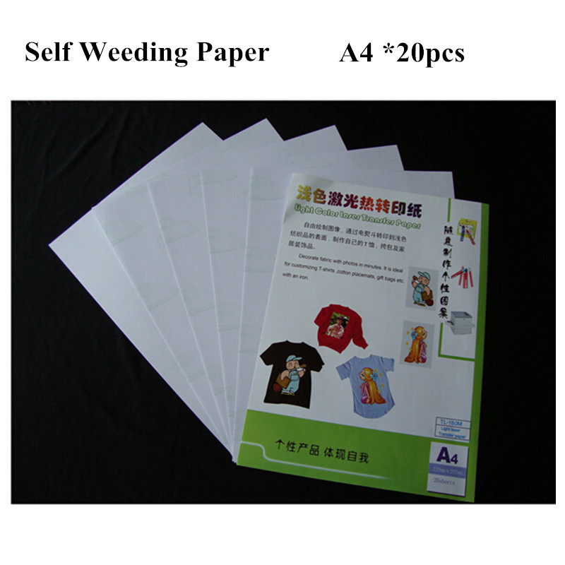 20pcs Laser Iron On Heat Transfer Sheet Printing Paper A4 Light Color Self Weeding Paper For T Shirt Thermal Transfers Papel
