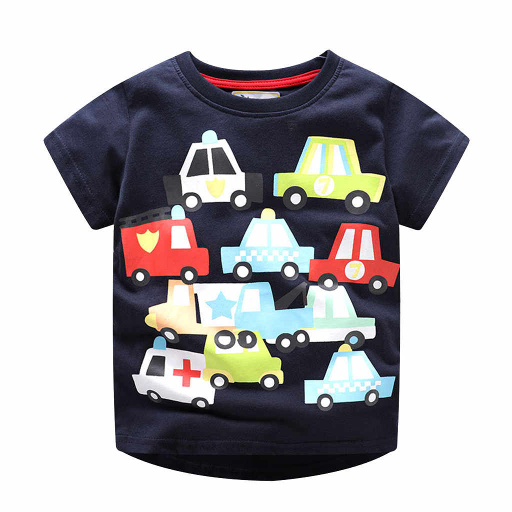 Kids Clothes Infant Baby Girls Boys Tops Casual Cotton Spring Shirt Short Sleeve Cartoon Print T-shirt Tops Children Clothes