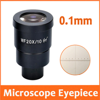1PCWF20X 10mm High Eyepiont Wide Angle Stereo Microscope Eyepiece Lens with Mounting Size 30mm Reading Scale Ruler 0.1mm