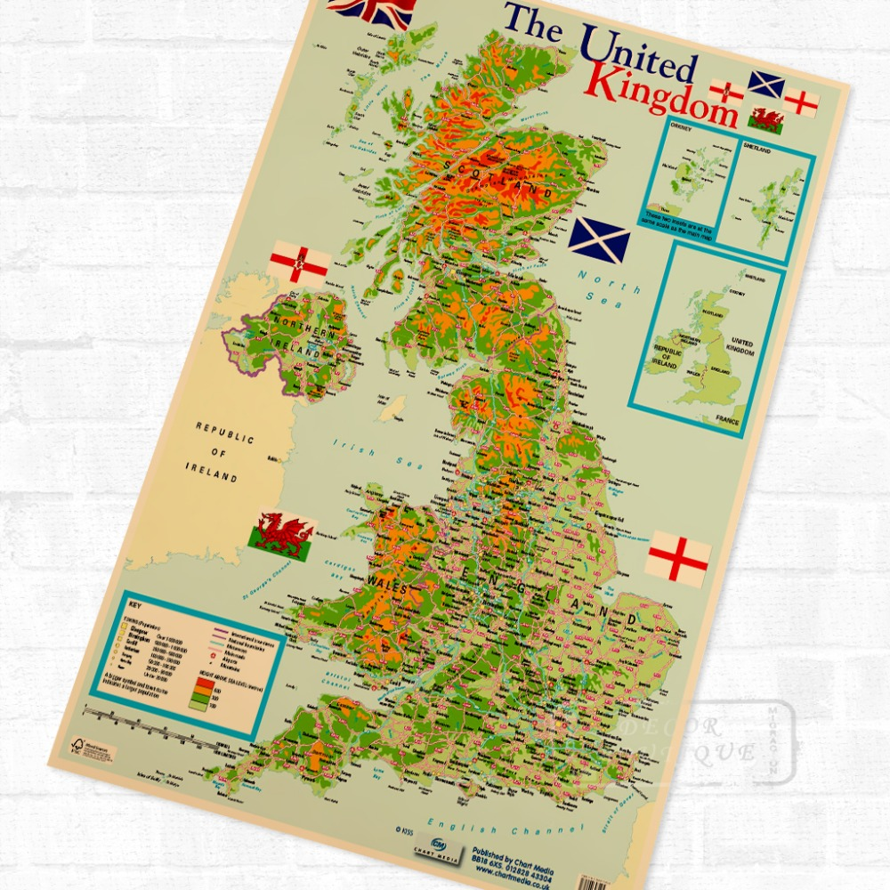 Map of The United Kingdom, Educational Poster Decorative DIY Wall ...