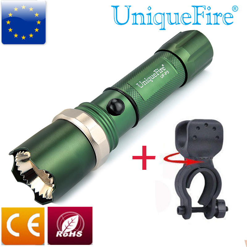 Lanternă de poliție UniqueFire Zoom portabil UF-P3 XPE Lanternă lanterna cu cap de atac din oțel inoxidabil + Ciclu de biciclete