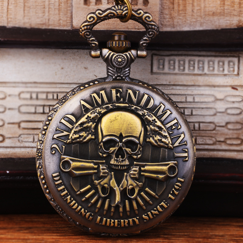 Nightmare Before Christmas Pirates Of The Caribbean Ghost Head Theme Bronze Quartz Pocket Watch Fashion Vintage For Watch Gifts