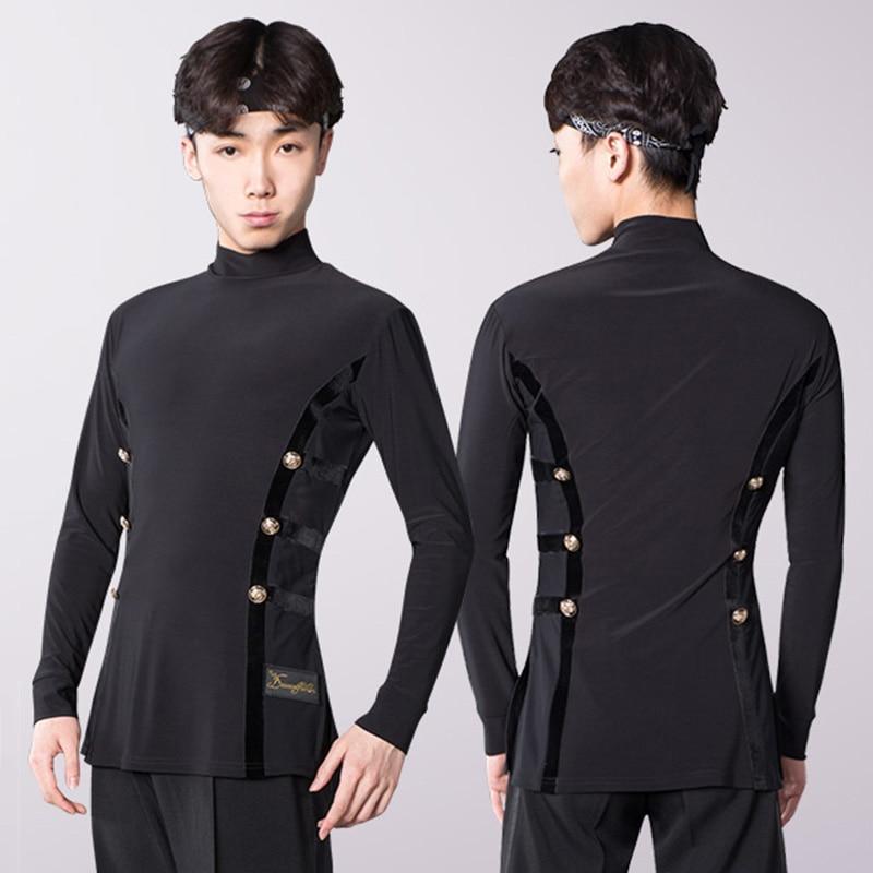 Latin Dance Shirts Men Black Long Sleeve High Collar Competition Performance Top Male Cha Cha Rumba Tango Samba Clothes DNV11737
