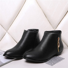 Big size 34-45 ankle casual boots with Zipper