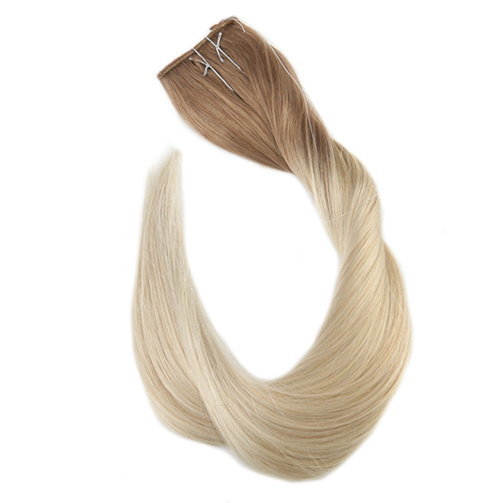 Full Shine Fish Line Human Hair Extension Remy Color #6 Fading To Color #613 Blond Double Weft With Invisible Wire Hair Pieces