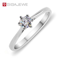GIGAJEWE Moissanite 0.2ct 4mm Round Cut White F Color 925 Silver Ring Gold Multi layer Plated Fashion Love Token Girlfriend Gift