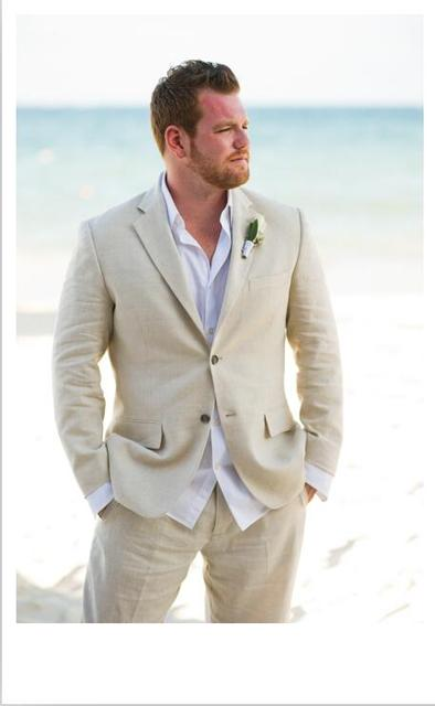 Latest Coat Pant Designs Champagne Linen Wedding Suits For Men Casual Beach Summer Groom Custom