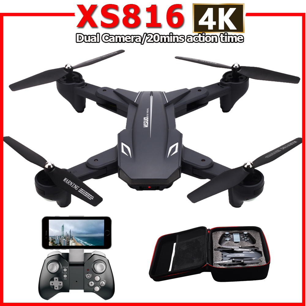 XS816 RC Drone With 50 Times Zoom WiFi FPV 4K /720P Dual Camera Optical Flow Quadcopter Foldable Selfie Dron VS SG106 M70 B4W