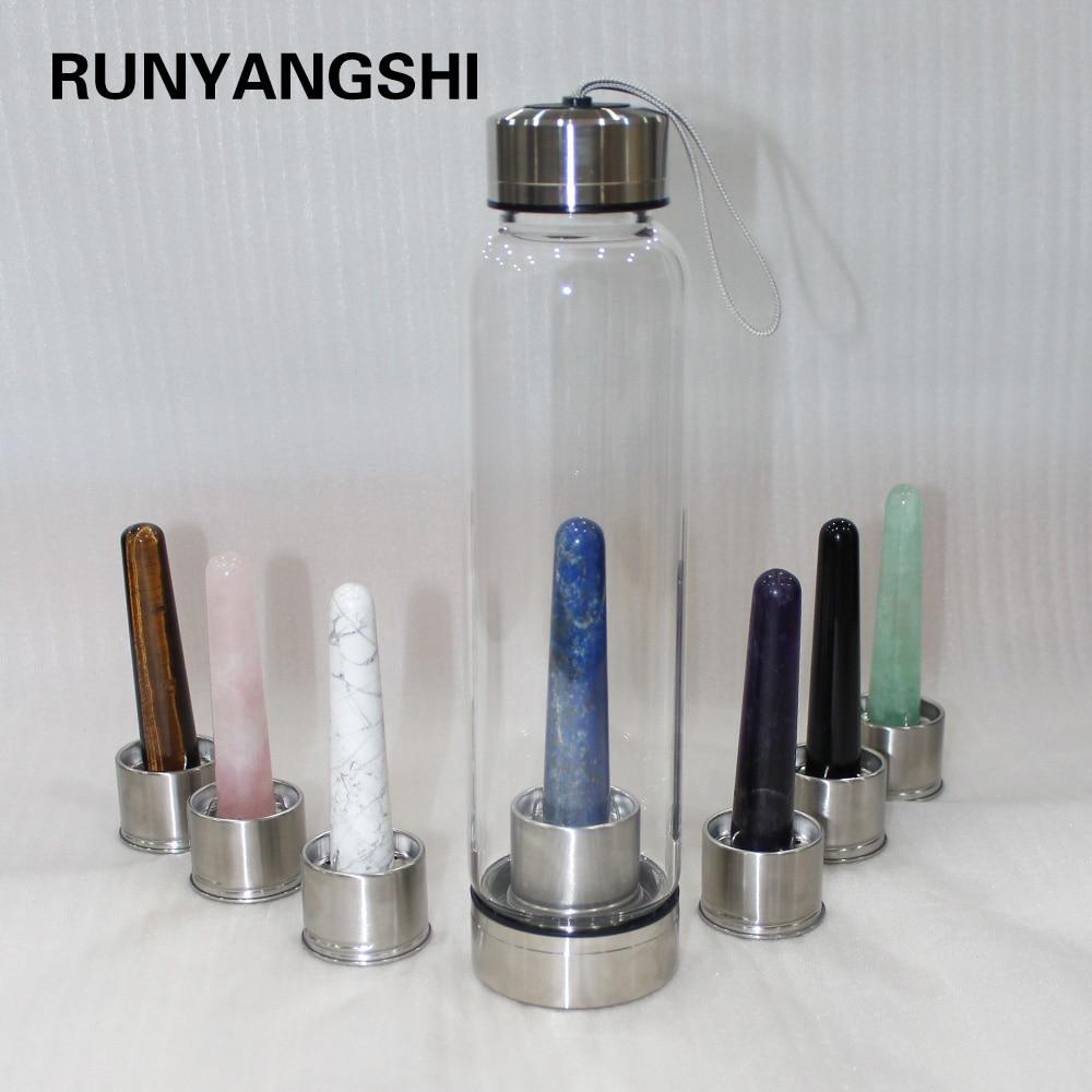 NEW Creative 550ml Natural Crystal Glass Water Bottel Crystal Magic Wand Quartz  Portable Energy Healing Glass Cups Energy Stone