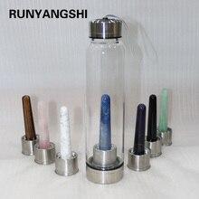 NIEUWE Creatieve 550ml Natuurlijke kristallen glas water bottel Kristal toverstaf quartz Draagbare Energie Healing Glas Cups energie steen