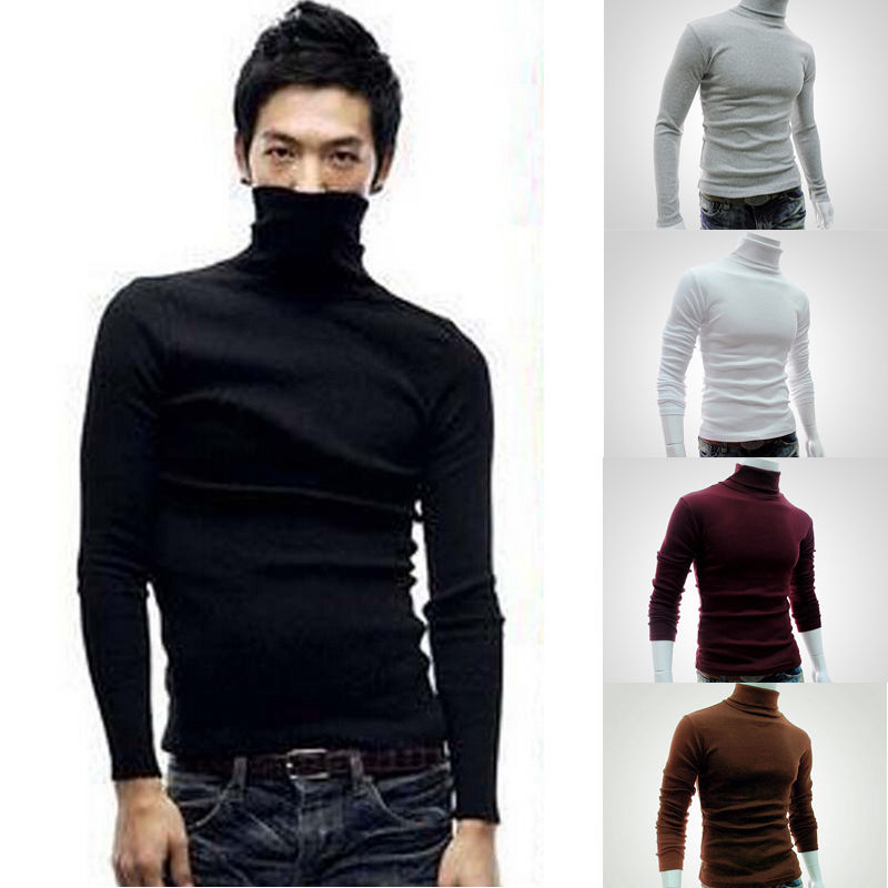 Winter Casual Men Slim Warm Cotton High Neck Pullover Jumper Cotton Sweater Top Turtleneck Black Gray White short dresses office wear
