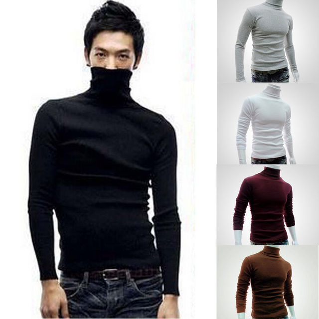 599b4b1dc2b Winter Casual Men Slim Warm Cotton High Neck Pullover Jumper Cotton Sweater  Top Turtleneck Black Gray
