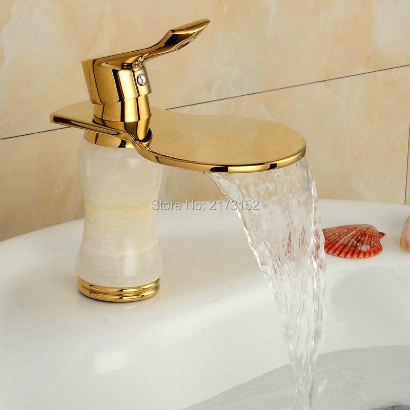 fancy estilo raqueta forma chapado en oro de bao cascada grifo montado cubierta de mrmol blanco cuerpo de latn cuenca del fre