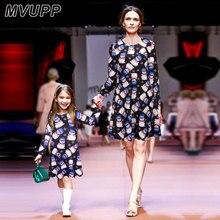 Здесь можно купить  MVUPP Mother daughter dresses 2 colour Long Sleeve Snowman Snowflake Print Christmas Dress family matching outfits Vintage Dress  Children