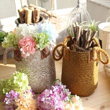 Storage Baskets Seagrass Wicker Hanging Flower Pot Home Basket 3pcs