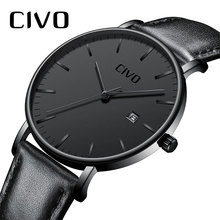CIVO Men Watch Ultra Thin Minimalist Waterproof Date Wrist Watch For Men Black Genuine Leather Business Fashion Watch Men Clock