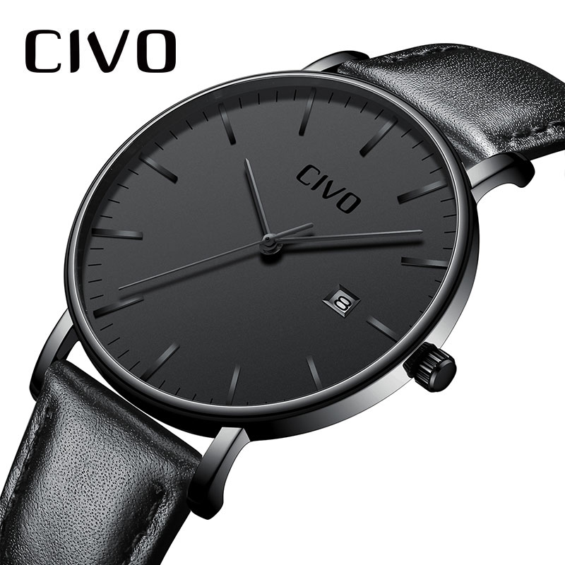 CIVO Men Watch Ultra Thin Minimalist Waterproof Date Wrist Watch For Men Black Genuine Leather Business Fashion Watch Men Clock