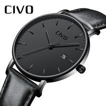 CIVO 남자 시계 울트라 얇은 미니멀리스트 방수 날짜 손목 시계 남자 블랙 정품 가죽 비즈니스 패션 시계 남자 시계