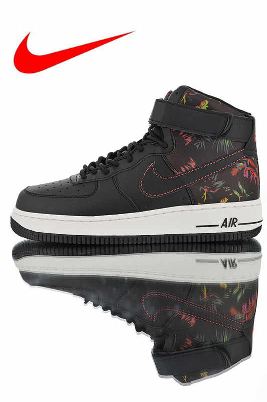 Nike Air Force 1 07 High  Black Flora  Men s and Women s Skateboarding Shoes fe919f3f9e22
