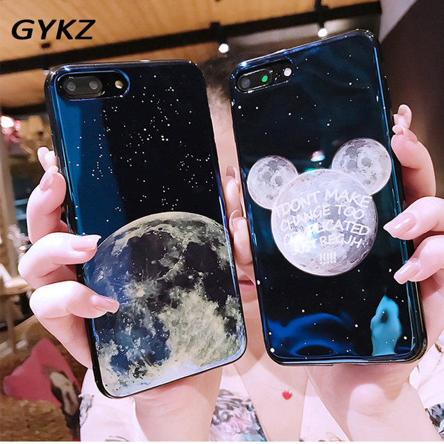 baba34e54c7d7e GYKZ Electroplate Blue Light Soft Phone Cover for iPhone X 6 6s 7 8 Moon  Planet Space Silicone Case for iPhone 7 6 6s 8 Plus